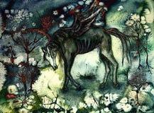 Utmattad svart häst i ödelagt landskap royaltyfri illustrationer