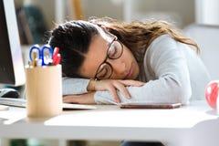 Utmattad ung affärskvinna som har stupad sovande stund som arbetar i kontoret royaltyfria bilder