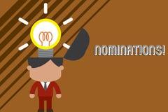 Utn?mningar f?r textteckenvisning Begreppsm?ssig fotohandling av att nominera eller tillst?ndet som nomineras f?r prisanseende vektor illustrationer