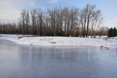 Utomhus- åka skridskor isbana på dammet arkivbild