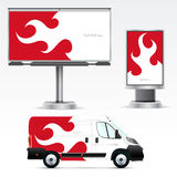 Utomhus- advertizing för mall eller företags identitet på bilen, affischtavlan och citylighten Arkivfoton