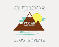 Utomhus- affärsföretag för bergcampingplatstältplats och stock illustrationer