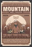 Utomhus- affärsföretagutrustningar, berg och skog royaltyfri illustrationer