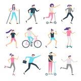 Utomhus- aktivitet för folk Sund gemenskap som går mannen och joggar kvinnan Rinnande tonåringar som åker skridskor och cyklar un royaltyfri illustrationer