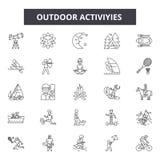 Utomhus- aktiviteter fodrar symboler, tecken, vektoruppsättningen, översiktsillustrationbegrepp vektor illustrationer
