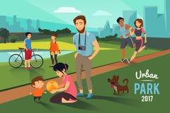 Utomhus- aktiviteter i stads- parkerar Den lyckliga familjen med ungen, löpare kopplar ihop, vektorbakgrund stock illustrationer