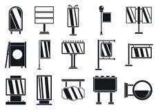Utomhus- annonserande affischtavlasymbolsuppsättning, enkel stil vektor illustrationer