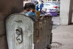 Utomhus- avfallfack med matavfalls Inte sorterad avskräde, gård, stank, smörja Royaltyfri Fotografi