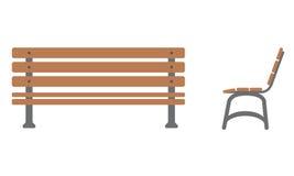 Utomhus- bänksymbol med framdel- och sidosikt royaltyfri illustrationer