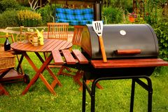 Utomhus- begrepp för parti eller för picknick för helgBBQ-galler Royaltyfri Fotografi