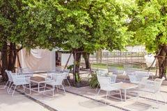 Utomhus- bosatt hörn under trädet royaltyfri fotografi