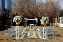 utomhus- bröllopplats fotografering för bildbyråer