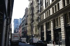 Utomhus- brandflykter i New York City royaltyfri bild