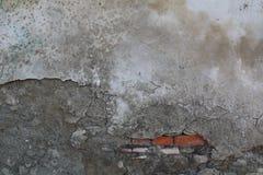 Utomhus- cementvägg med röda tegelstenar Arkivbild