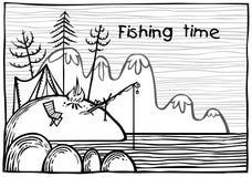 Utomhus- fiskeillustration Arkivbilder