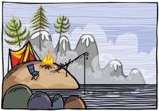 Utomhus- fiskeillustration Royaltyfri Bild