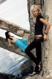 utomhus- foto för modemodeller Fotografering för Bildbyråer