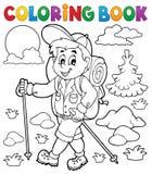 Utomhus- fotvandrare för färgläggningbok royaltyfri illustrationer