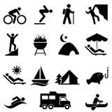 Utomhus- fritid- och rekreationsymboler royaltyfri illustrationer