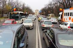 Utomhus- gataklocka i Bucharest, Rumänien Royaltyfria Bilder