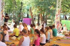 Utomhus- Grupovogo meditation royaltyfria bilder