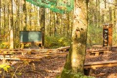 Utomhus- grupprum i skog med kritabrädet och träbänkar royaltyfri foto