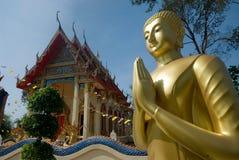 Utomhus- guld- stora buddha. Fotografering för Bildbyråer