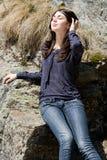 utomhus- härlig brunett Royaltyfri Foto