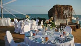 Utomhus- inställning för bröllopmottagande Arkivfoton
