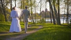 utomhus- inställningsbröllop royaltyfri fotografi