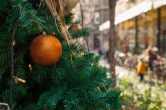 Utomhus- jul dekorerade trädet Royaltyfri Bild