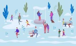 Utomhus- julferie Folkskridskoåkning på isbanan och gå mellan dekorerade träd Sitt parkerar bänkar och går på med vektor illustrationer