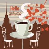 Utomhus- kafé för gata i den gamla staden, kaffetabell med koppar, stolar, höstsidor, lynne av nedgången, romans, illustration, c stock illustrationer
