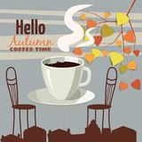 Utomhus- kafé för gata i den gamla staden, kaffetabell med koppar, stolar, höstsidor, lynne av nedgången, romans, illustration, c vektor illustrationer