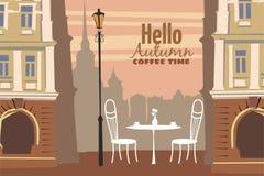 Utomhus- kafé för gata i den gamla staden, kaffetabell med koppar, stolar, lynne av nedgången, romans, illustration, kort som iso stock illustrationer