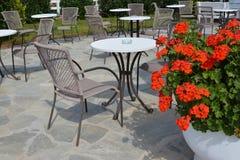 Utomhus- kafé med pelargonblommor Royaltyfri Bild