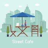 Utomhus- kafé med tabellen och platser vektor illustrationer