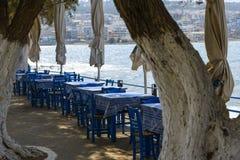 Utomhus- kafé på stranden royaltyfri bild