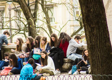 Utomhus- klassrum i Lissabon, Portugal Arkivbild