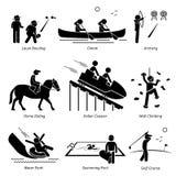 Utomhus- klubbalekar och fritids- aktiviteter stock illustrationer