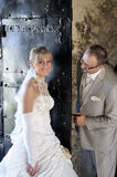 utomhus- landskapbröllop Arkivbild