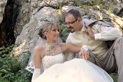 utomhus- landskapbröllop Arkivfoton