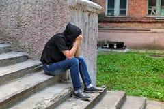 Utomhus- ledsen tonåring Fotografering för Bildbyråer