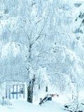 Utomhus- lekplats för barn i vinter Arkivbild