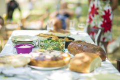 Utomhus- lunch med läcker mat på tabellen Royaltyfria Bilder