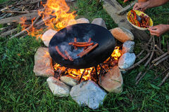 Utomhus- matlagning Arkivfoton