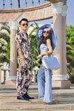 Utomhus- modefors med kinesiska modeller, Hengdian, Kina Fotografering för Bildbyråer