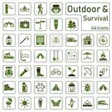 Utomhus- och överlevnad - symbolsuppsättning vektor illustrationer