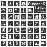 Utomhus- och överlevnad - symbolsuppsättning stock illustrationer