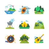 Utomhus- och skogaktiviteter för natur, royaltyfri illustrationer